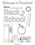 Welcome to Preschool! Coloring Page