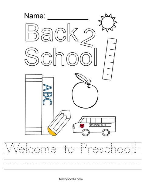 Welcome to Preschool! Worksheet