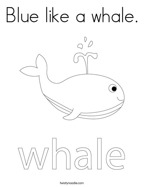 Blue Like A Whale Coloring Page - Twisty Noodle
