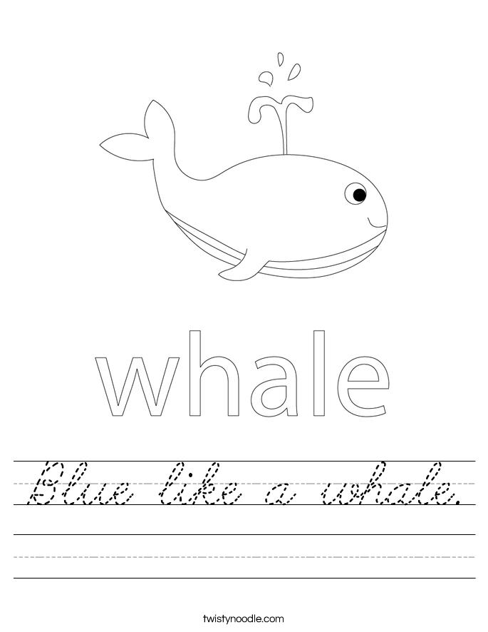 Blue like a whale. Worksheet