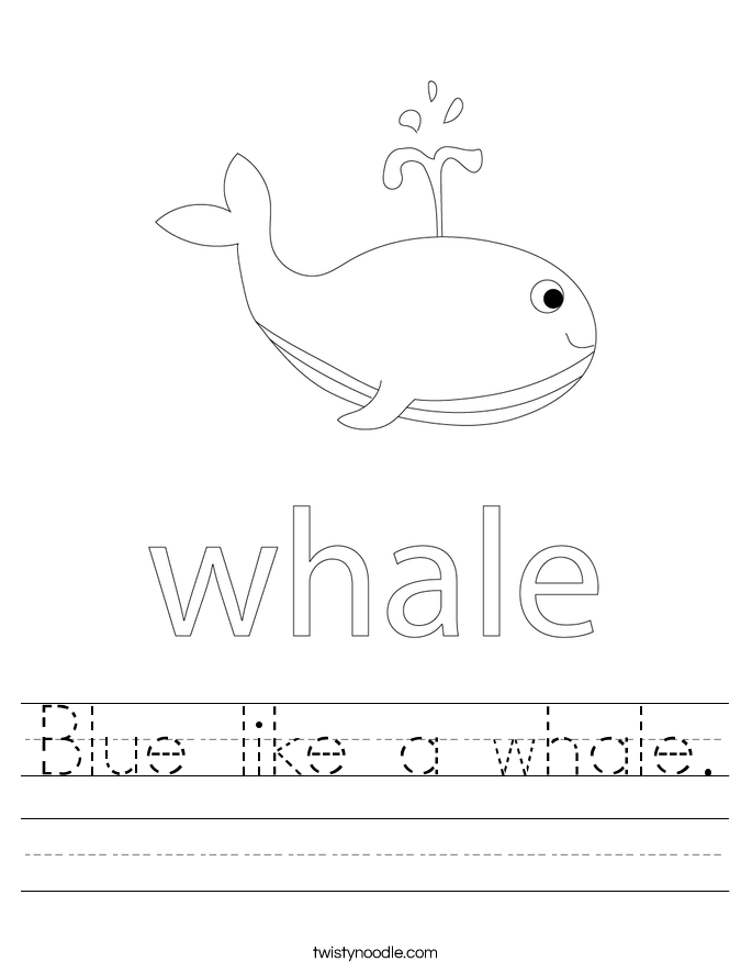 Blue like a whale. Worksheet