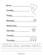 What day comes next Handwriting Sheet
