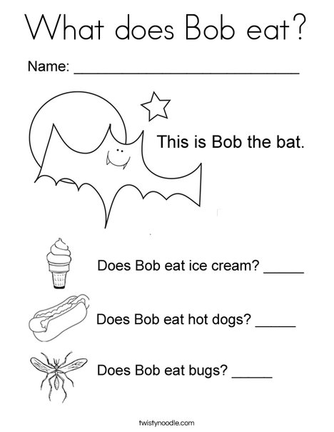 What does Bob eat? Coloring Page