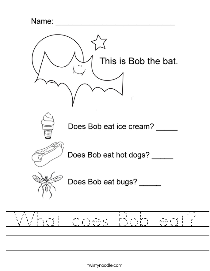 What does Bob eat? Worksheet