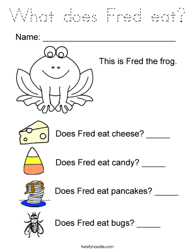 What does Fred eat? Coloring Page