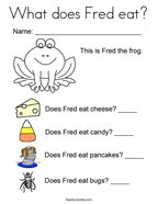 What does Fred eat Coloring Page
