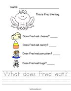 What does Fred eat Handwriting Sheet