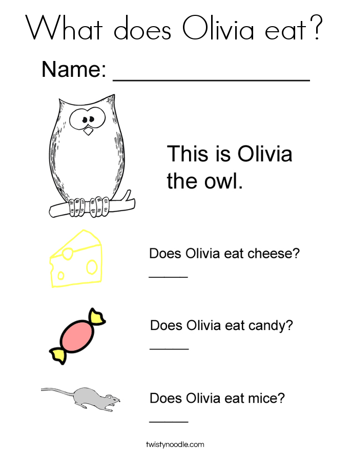What does Olivia eat? Coloring Page