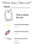 What does Olivia eat Coloring Page