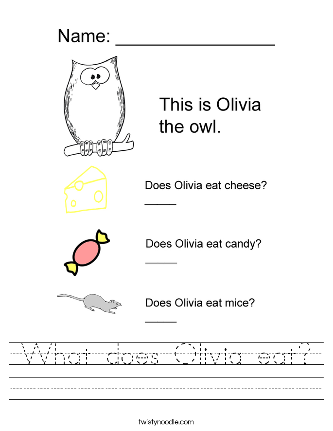 What does Olivia eat? Worksheet