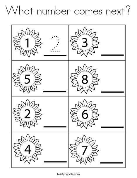 What number comes next? Coloring Page