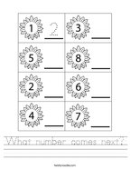 What number comes next Handwriting Sheet