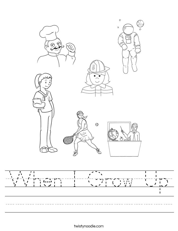 When I Grow Up Worksheet - Twisty Noodle