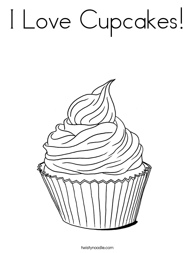 I Love Cupcakes! Coloring Page.