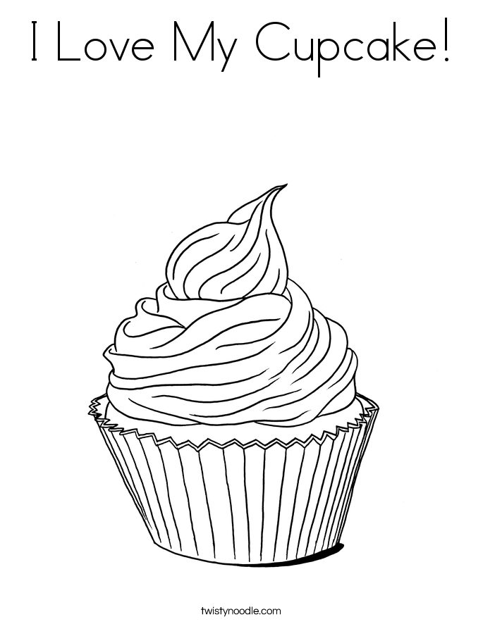 I Love My Cupcake! Coloring Page