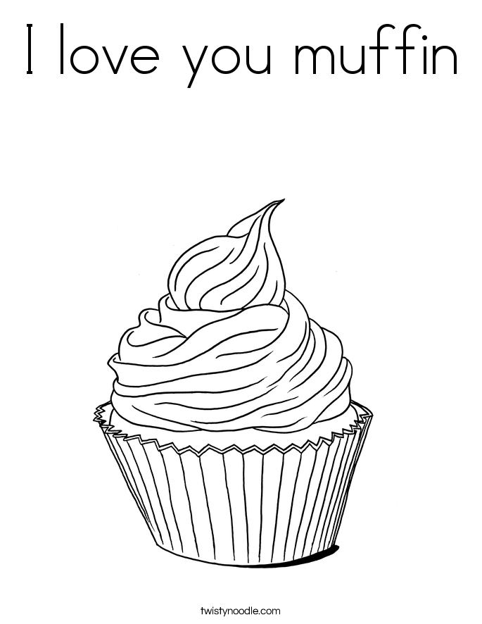 I love you muffin Coloring Page