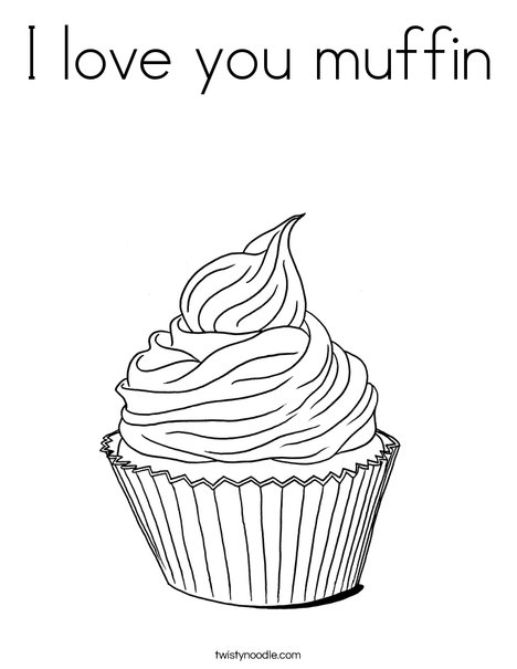 I love you muffin Coloring Page - Twisty Noodle
