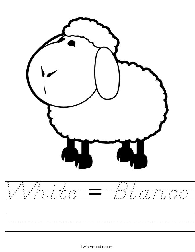 white blanco worksheet d 39 nealian twisty noodle. Black Bedroom Furniture Sets. Home Design Ideas