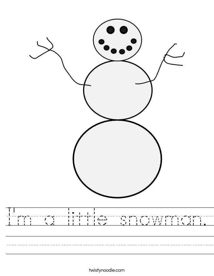 I'm a little snowman. Worksheet