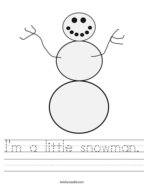 White Snowman Worksheet