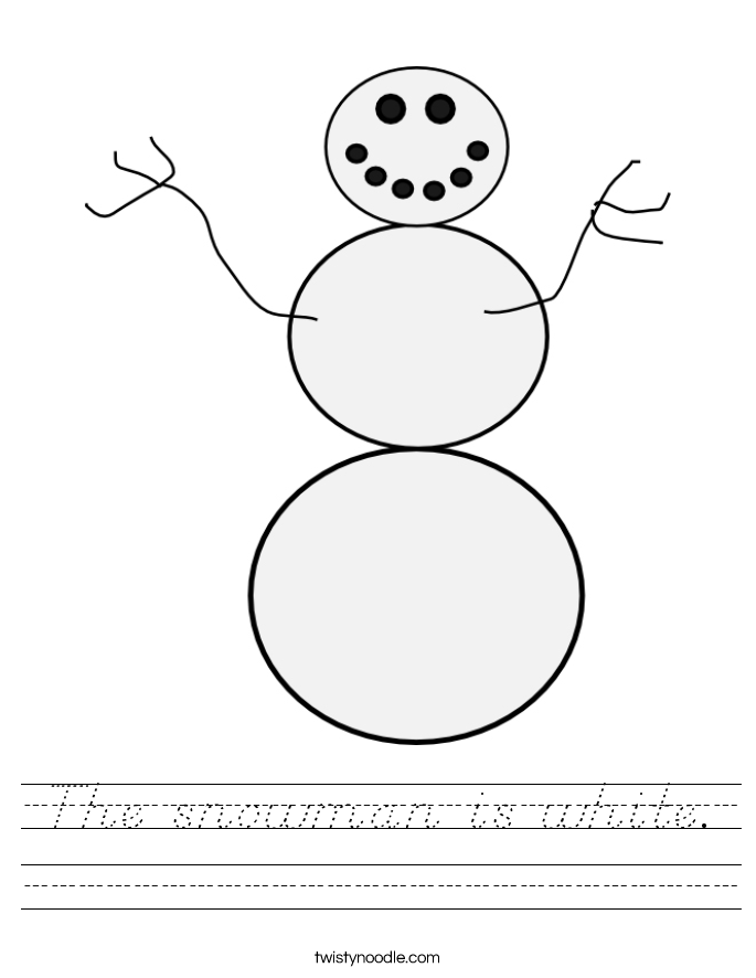 The snowman is white. Worksheet