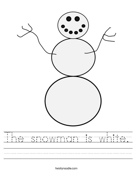 White Snowman Worksheet