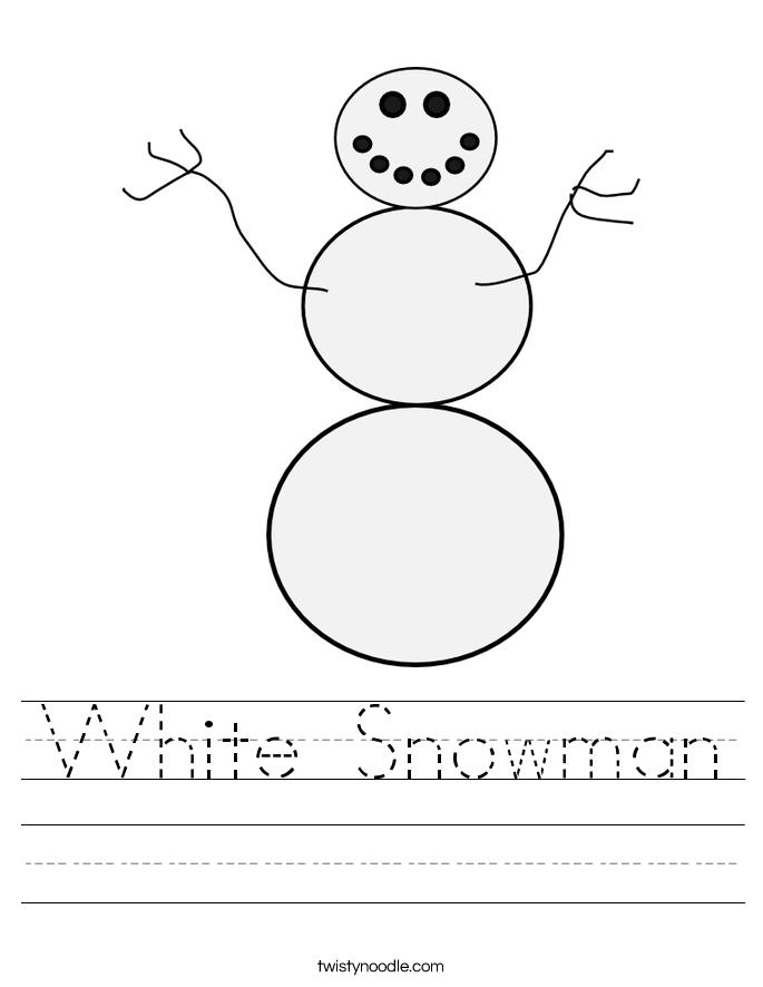 white snowman worksheet twisty noodle. Black Bedroom Furniture Sets. Home Design Ideas