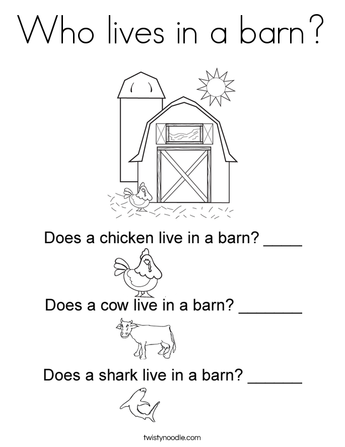 Who lives in a barn? Coloring Page
