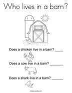 Who lives in a barn Coloring Page