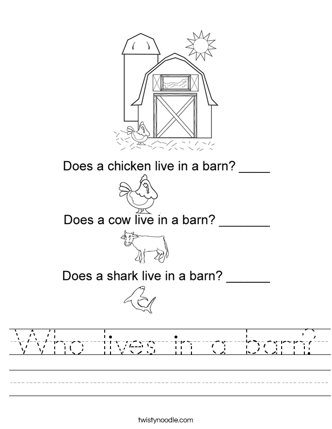 Who lives in a barn? Worksheet