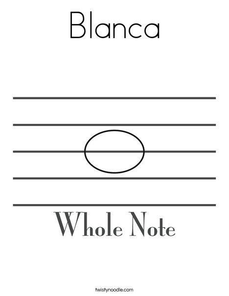 Whole Note Coloring Page