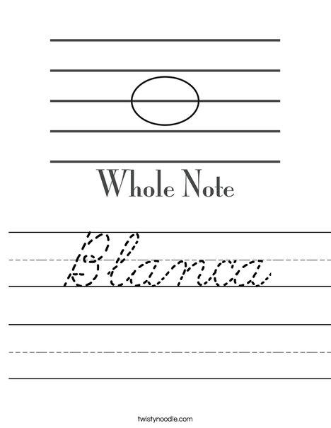 Whole Note Worksheet