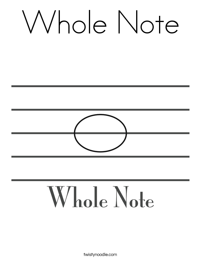 Whole Note Coloring Page.