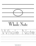 Whole Note Handwriting Sheet