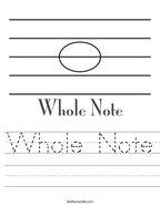Whole Note Handwriting Sheet
