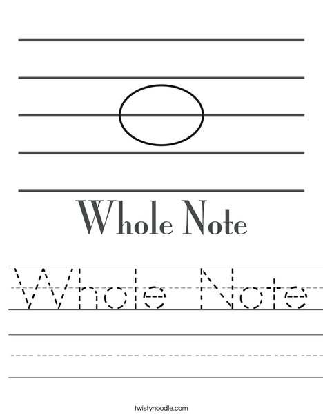 Whole Note Worksheet