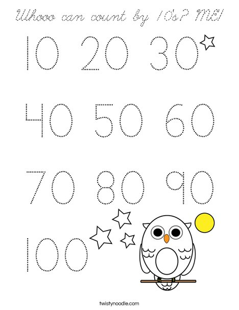 Whooo can count by 10's? ME! Coloring Page
