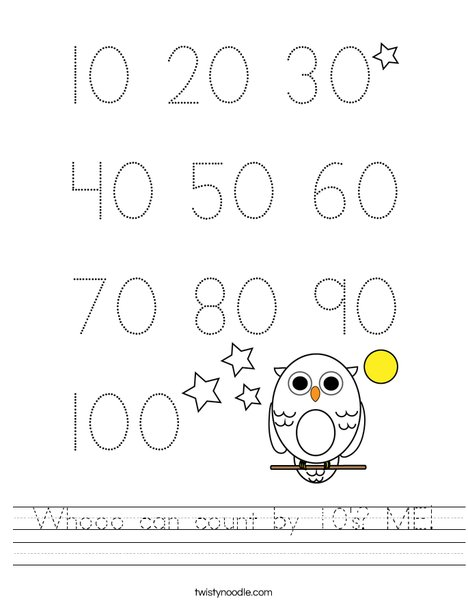 Whooo can count by 10's? ME! Worksheet