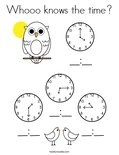 Whooo knows the time? Coloring Page
