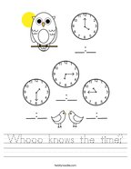 Whooo knows the time Handwriting Sheet