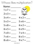 Whooo likes multiplication? Coloring Page