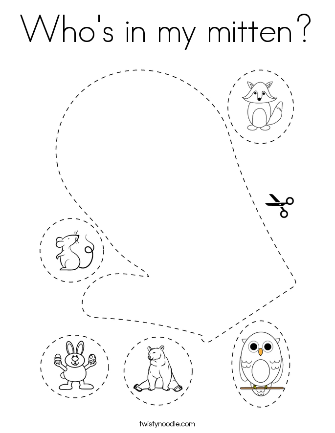 Who's in my mitten? Coloring Page