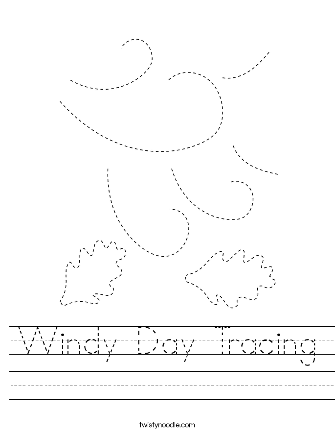 Windy Day Tracing Worksheet