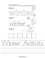 Winter Activity Handwriting Sheet