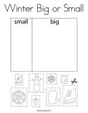 Winter Big or Small Coloring Page