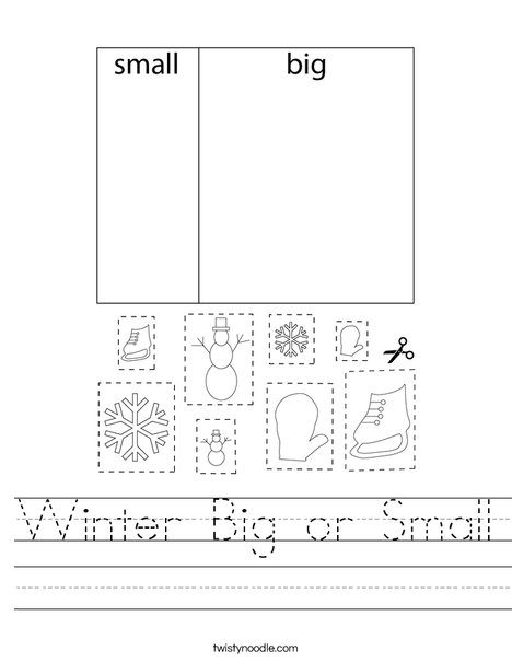 Winter Big or Small Worksheet