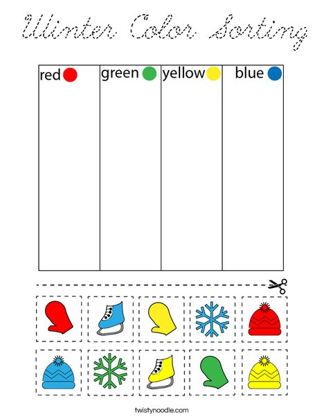 Winter Color Sorting Coloring Page