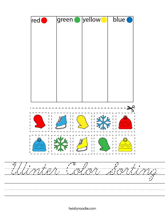 Winter Color Sorting Worksheet