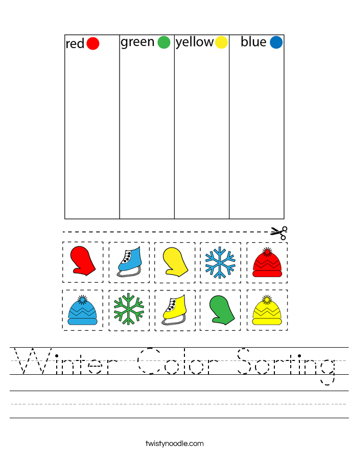 Winter Color Sorting Worksheet