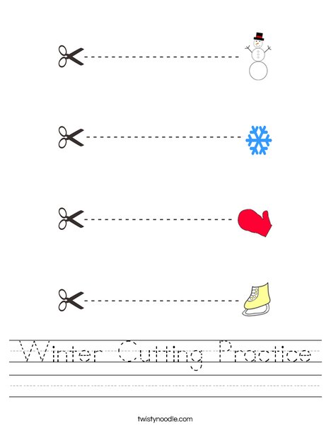 Winter Cutting Practice Worksheet